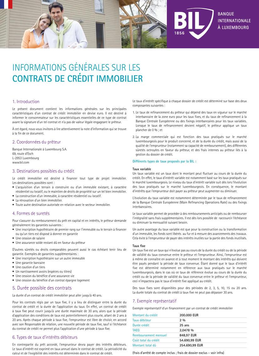 Informations Generales Sur Les Contrats De Credit
