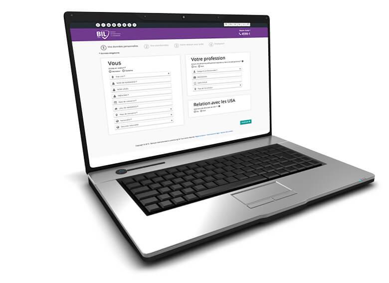Visuel d'un ordinateur affichant la procédure a effectuer pour l'ouverture d'un compte courrant JeunesJe