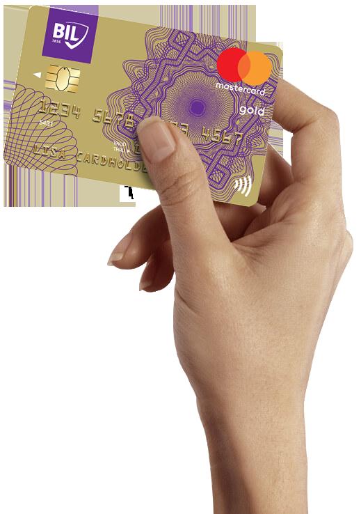 Visuel d'une carte de crédit Mastercard Gold