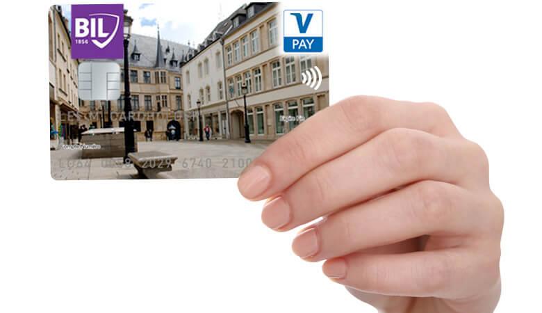 Visuel d'une carte de débit V PAY personnalisée