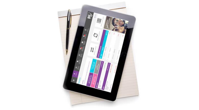Image d'une tablette affichant le site BILnet
